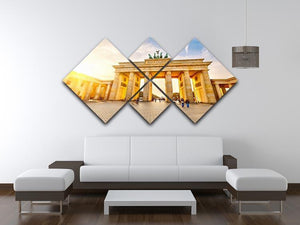 Brandenburg gate at sunset 4 Square Multi Panel Canvas  - Canvas Art Rocks - 3