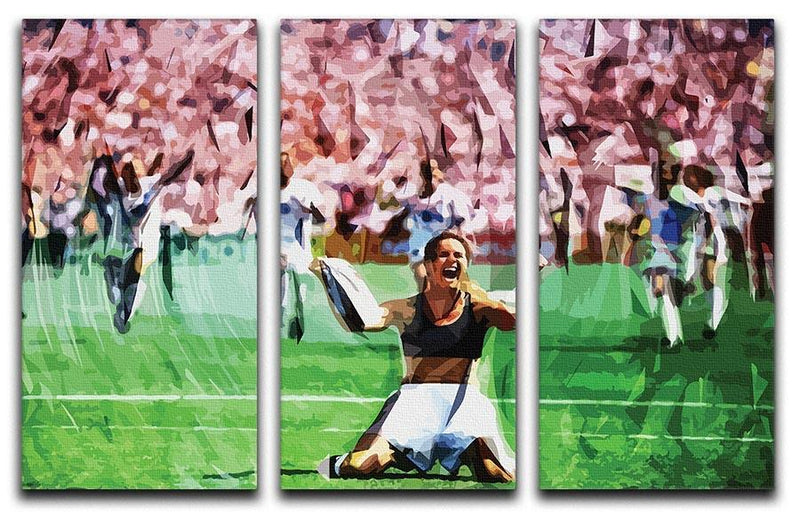 Brandi Chastain Celebrates USA Soccer 1999 3 Split Panel Canvas Print - Canvas Art Rocks - 1