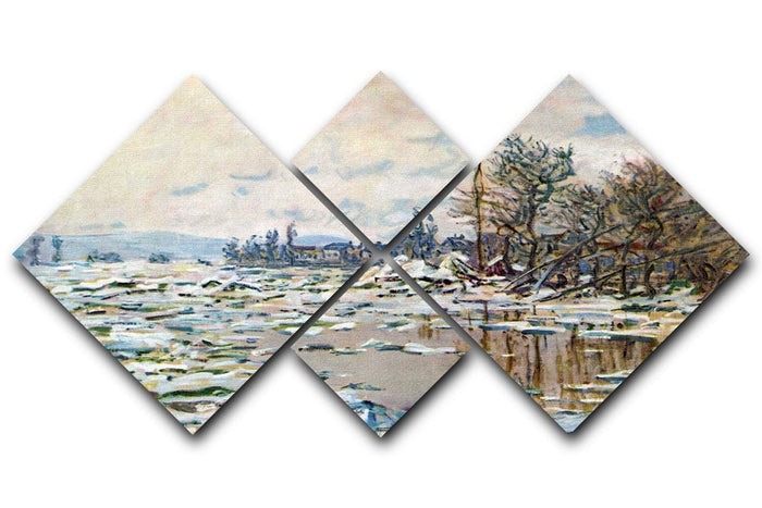 Break Up of Ice by Monet 4 Square Multi Panel Canvas