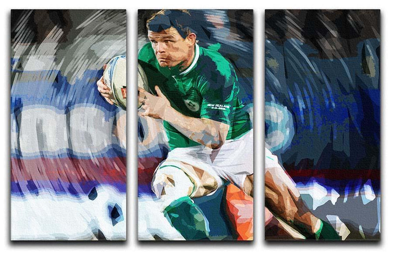 Brian ODriscoll 3 Split Panel Canvas Print - Canvas Art Rocks - 1