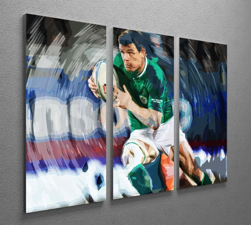 Brian ODriscoll 3 Split Panel Canvas Print - Canvas Art Rocks - 2