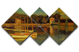 Bridge at Argenteuil by Monet 4 Square Multi Panel Canvas  - Canvas Art Rocks - 1