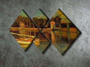 Bridge at Argenteuil by Monet 4 Square Multi Panel Canvas - Canvas Art Rocks - 2