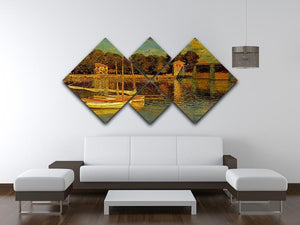 Bridge at Argenteuil by Monet 4 Square Multi Panel Canvas - Canvas Art Rocks - 3