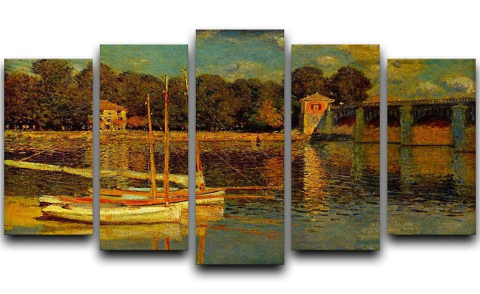 Bridge at Argenteuil by Monet 5 Split Panel Canvas