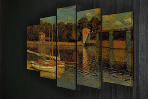 Bridge at Argenteuil by Monet 5 Split Panel Canvas - Canvas Art Rocks - 2