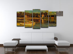 Bridge at Argenteuil by Monet 5 Split Panel Canvas - Canvas Art Rocks - 3