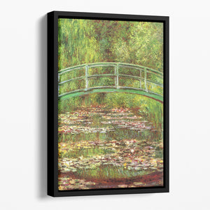 Bridge over the sea rose pond by Monet Floating Framed Canvas