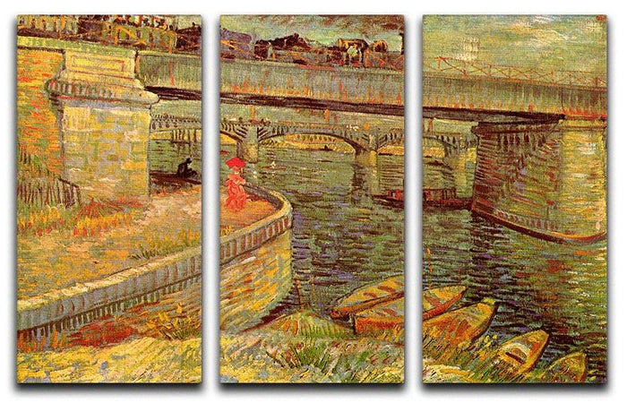 Bridges across the Seine at Asnieres by Van Gogh 3 Split Panel Canvas Print