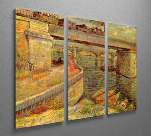 Bridges across the Seine at Asnieres by Van Gogh 3 Split Panel Canvas Print - Canvas Art Rocks - 4