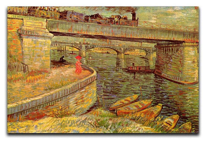 Bridges across the Seine at Asnieres by Van Gogh Canvas Print or Poster
