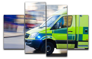 British ambulance in motion blur 4 Split Panel Canvas  - Canvas Art Rocks - 1