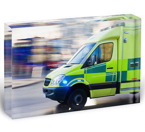 British ambulance in motion blur Acrylic Block - Canvas Art Rocks - 1