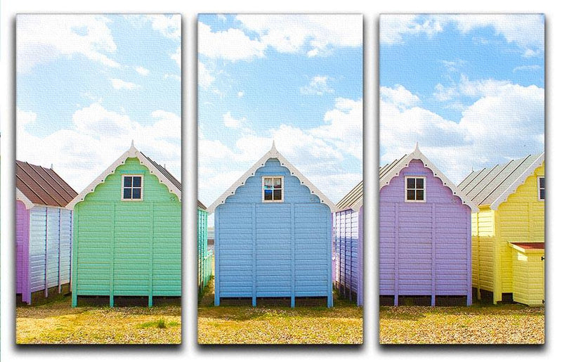 British beach huts on a bright sunny day 3 Split Panel Canvas Print - Canvas Art Rocks - 1