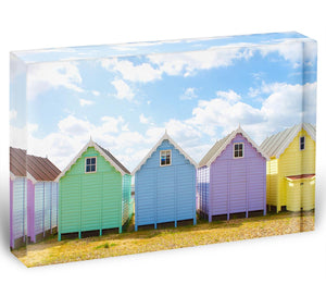British beach huts on a bright sunny day Acrylic Block - Canvas Art Rocks - 1