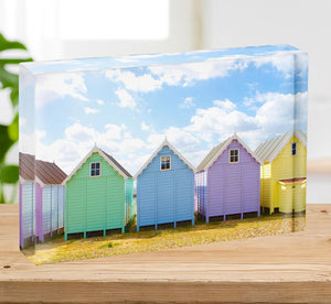 British beach huts on a bright sunny day Acrylic Block - Canvas Art Rocks - 2