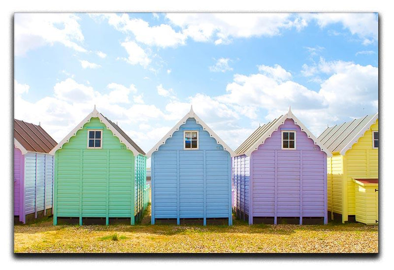 British beach huts on a bright sunny day Canvas Print or Poster  - Canvas Art Rocks - 1