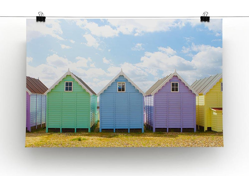 British beach huts on a bright sunny day Canvas Print or Poster - Canvas Art Rocks - 2