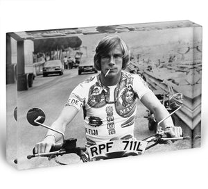British racing driver James Hunt Acrylic Block - Canvas Art Rocks - 1