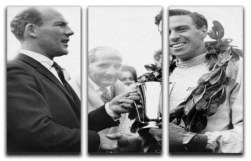 British racing drivers Jim Clark and Stirling Moss 3 Split Panel Canvas Print - Canvas Art Rocks - 1
