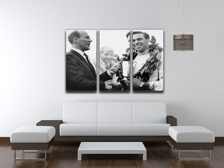 British racing drivers Jim Clark and Stirling Moss 3 Split Panel Canvas Print - Canvas Art Rocks - 3