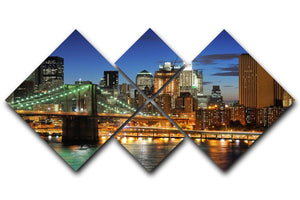 Brooklyn bridge downtown at night 4 Square Multi Panel Canvas  - Canvas Art Rocks - 1