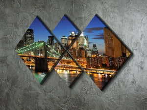 Brooklyn bridge downtown at night 4 Square Multi Panel Canvas  - Canvas Art Rocks - 2
