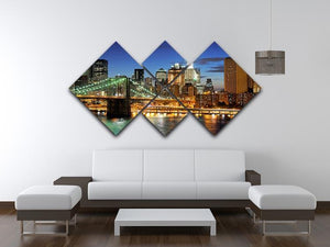 Brooklyn bridge downtown at night 4 Square Multi Panel Canvas  - Canvas Art Rocks - 3