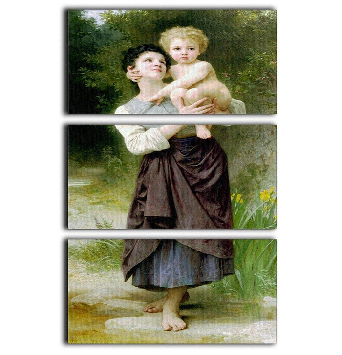 Brother And Sister By Bouguereau 3 Split Panel Canvas Print
