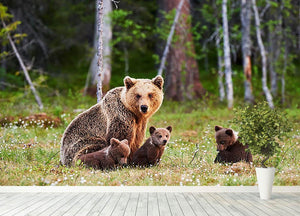 Brown mother bear protecting her cubs Wall Mural Wallpaper - Canvas Art Rocks - 4