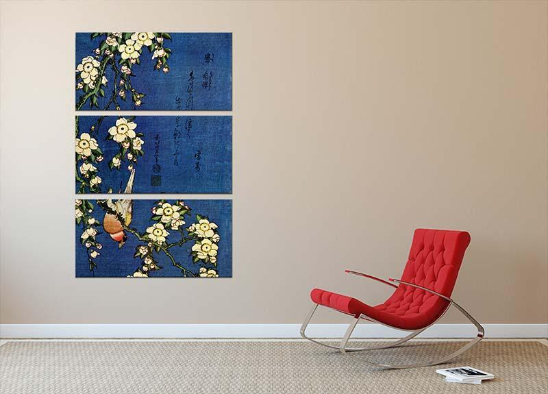 Bullfinch and drooping cherry by Hokusai 3 Split Panel Canvas Print - Canvas Art Rocks - 2