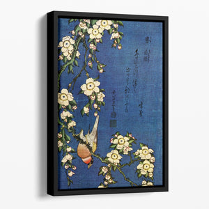 Bullfinch and drooping cherry by Hokusai Floating Framed Canvas