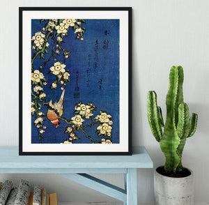 Bullfinch and drooping cherry by Hokusai Framed Print - Canvas Art Rocks - 1