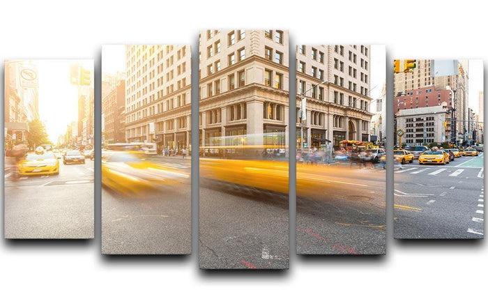 Busy road intersection in Manhattan 5 Split Panel Canvas