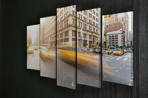 Busy road intersection in Manhattan 5 Split Panel Canvas  - Canvas Art Rocks - 2