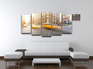 Busy road intersection in Manhattan 5 Split Panel Canvas  - Canvas Art Rocks - 3