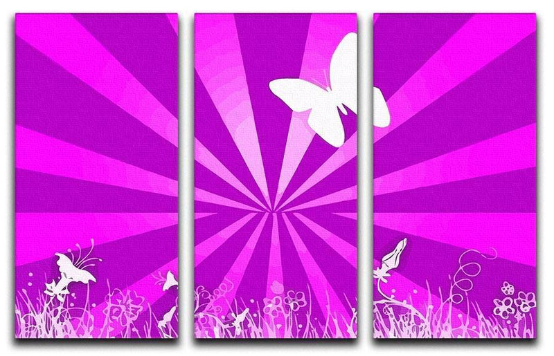 Butterfly Abstract 3 Split Panel Canvas Print - Canvas Art Rocks - 1