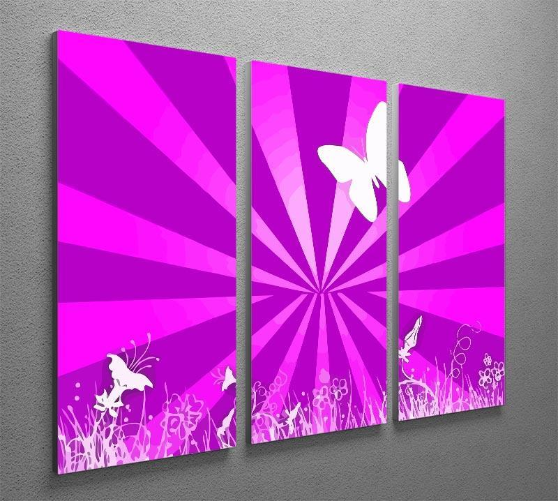 Butterfly Abstract 3 Split Panel Canvas Print - Canvas Art Rocks - 2