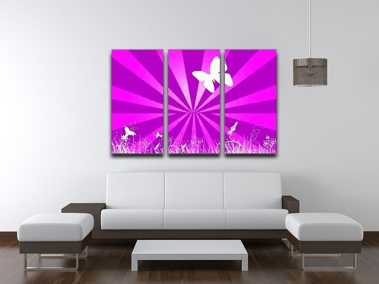 Butterfly Abstract 3 Split Panel Canvas Print - Canvas Art Rocks - 3