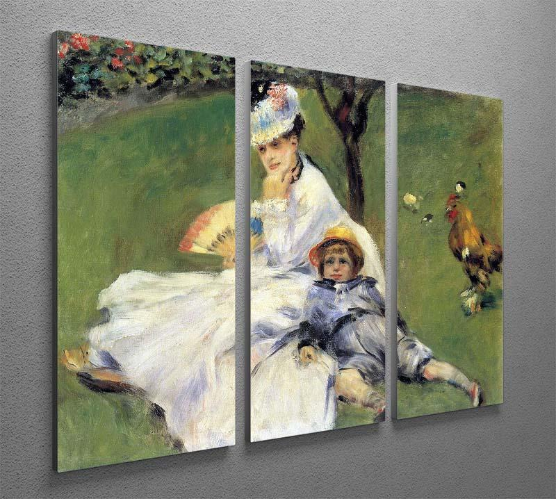 Camille Monet and her son Jean in the garden of Argenteuil by Renoir 3 Split Panel Canvas Print - Canvas Art Rocks - 2