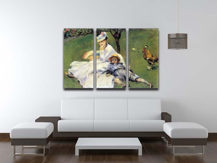 Camille Monet and her son Jean in the garden of Argenteuil by Renoir 3 Split Panel Canvas Print - Canvas Art Rocks - 3
