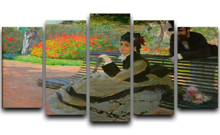 Camille Monet on a garden bench by Monet 5 Split Panel Canvas