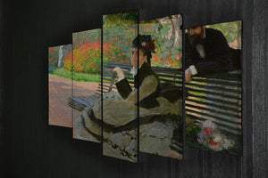 Camille Monet on a garden bench by Monet 5 Split Panel Canvas - Canvas Art Rocks - 2