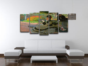 Camille Monet on a garden bench by Monet 5 Split Panel Canvas - Canvas Art Rocks - 3