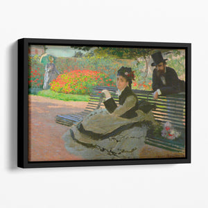 Camille Monet on a garden bench by Monet Floating Framed Canvas