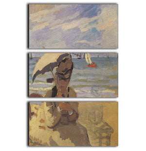 Camille Monet on the beach at Trouville by Monet 3 Split Panel Canvas Print - Canvas Art Rocks - 1