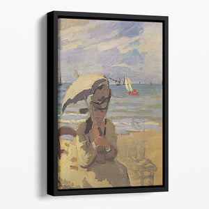 Camille Monet on the beach at Trouville by Monet Floating Framed Canvas