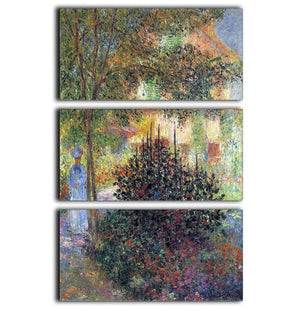 Camille in the garden of the house in Argenteuil by Monet 3 Split Panel Canvas Print - Canvas Art Rocks - 1