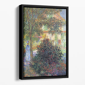 Camille in the garden of the house in Argenteuil by Monet Floating Framed Canvas