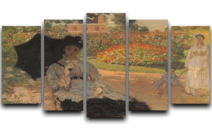 Camille in the garden with Jean and his nanny by Monet 5 Split Panel Canvas